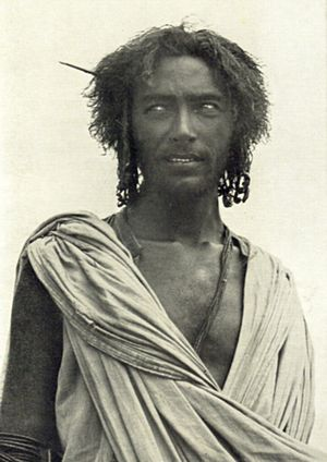 Afar people - Afar man in traditional nomadic attire.