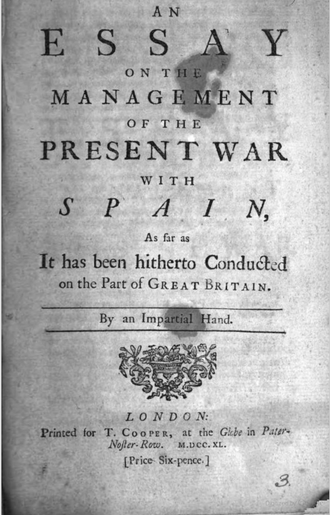Paternoster Row - Title page of An Essay on the Management of the Present War with Spain  printed for T. Cooper at The Globe