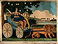An allegorical female is sitting in a chariot drawn by two l Wellcome V0047996.jpg