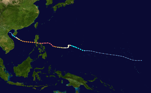 Typhoon Angela - Image: Angela 1995 track