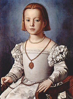 Maria de' Medici (1540–1557) - This portrait by Bronzino was identified as Maria de' Medici, painted in January 1551 when she was ten years old, until the 1950s.