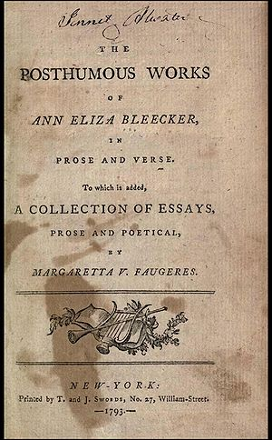 Ann Eliza Bleecker - Title page of The Posthumous Works of Ann Eliza Bleecker