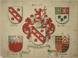 Coats of arms of the families Coulez, De Vos, Marix and Termonde