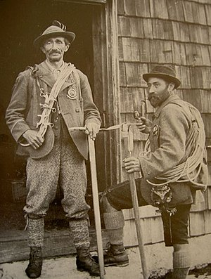 Guide - Austrian mountain guides Anselm Klotz (left) and Josef Frey (right), 19th century