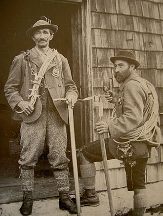 Mountain guide - Austrian mountain guides Anselm Klotz (left) and Josef Frey (right), 19th century