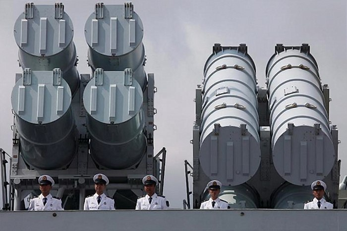 Anti-ship missile launchers on CNS Haikou (DDG-171)