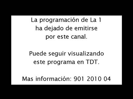 Analog closedown warning broadcast in Spain