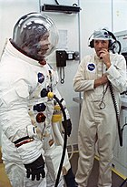 Apollo 13 Haise suits up