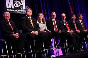 Arizona gubernatorial election, 2014 - Candidates for Governor speaking at a forum hosted by the Arizona Chamber of Commerce and Industry. From left to right: Al Melvin, Scott Smith,  Christine Jones, Fred DuVal, Frank Riggs, Doug Ducey and Ken Bennett.