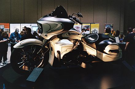 Arlen Ness Victory motorcycle at the Seattle International Motorcycle Show Arlen Ness Harley-Davidson Progressive Insurance.JPG