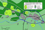 Map with woods, urban areas and landing grounds displayed