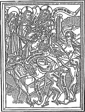 Ars moriendi - Pride of the spirit is one of the five temptations of the dying man, according to Ars moriendi. Here, demons tempt the dying man with crowns (a medieval allegory to earthly pride) under the disapproving gaze of Mary, Christ and God. Woodblock seven (4a) of eleven, Netherlands, circa 1460.