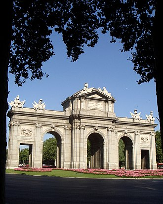 """A Thousand Suns - """"Waiting for the End"""", the album's second single, was performed at the Puerta de Alcalá Gate (pictured)."""