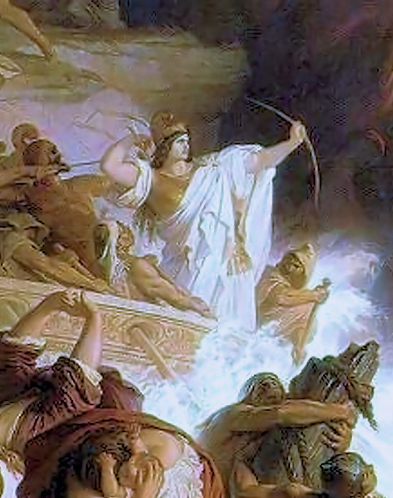 آرتمیس یکم، ملکه هالیکارناس در کاریا و فرمانده ناوگان هخامنشی، در نبرد سالامیس، تیراندازی به یونانیان. توسط ویلهلم فون کولباخ
