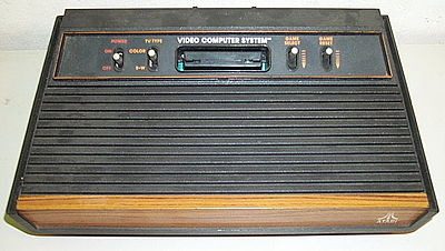 The Atari VCS was a popular home video game console in the late 1970s and early 1980s. Pictured is the four-switch model from 1980-1982. Atari2600wood4.jpg
