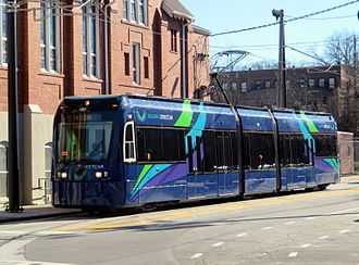 Metropolitan Atlanta Rapid Transit Authority - Atlanta Streetcar near the original Ebenezer Baptist Church, Sweet Auburn