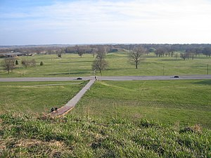 Monks Mound - Looking over the Cahokia Mounds site from the top of Monks Mound