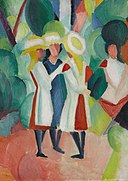 August Macke - Three girls in yellow straw hats I - Google Art Project.jpg