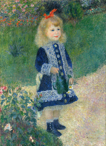 Girl With a Watering Can, oil painting by Renoir