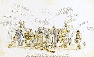 Second voyage of HMS Beagle - A caricature of the scene on the quarter deck while anchored at Bahia Blanca, painted around 24 September 1832. Darwin is the central figure in a top hat, Fitzroy the second figure to his left. The watercolour is attributed to the shipboard artist Augustus Earle.