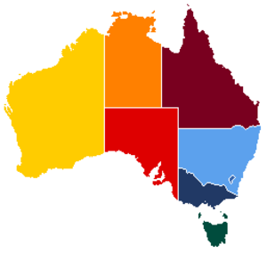 Women's National Cricket League - Map of Australia with each state / territory shaded in its cricket team's main colour.