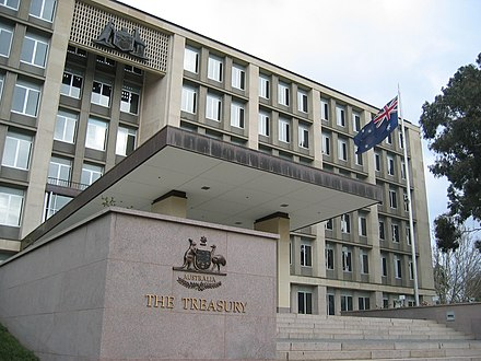 Just under a third of Canberrans are employed in the public sector, working in government departments such as the Treasury Australian Treasury.JPG
