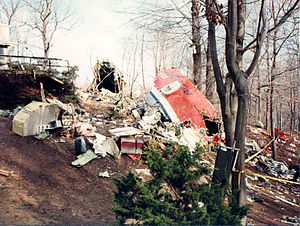 Avianca Flight 52 - The cockpit and forward galley fragment at the crash site with the rest of the fuselage in the background