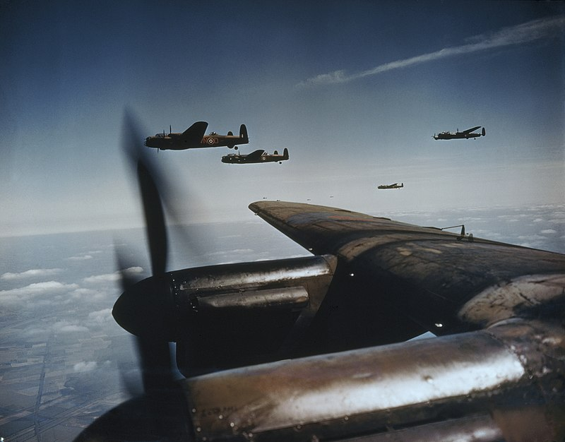 Avro Lancasters flying in loose formation