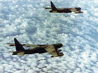 Jarai people - Two U.S. Air Force Boeing B-52D Stratofortress bombers over Cambodia, 1970 in the Operation Menu that affected many indigenous communities like the Jarai People.