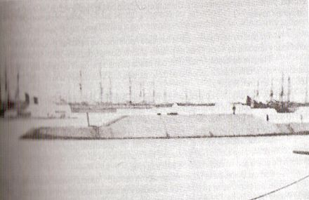 Loa being fitted after its conversion in the Callao harbour, 1864 BAP Loa blindado.jpg