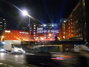 Television Centre, London - The exterior of Television Centre pictured during the live broadcast of the 2008 edition of the Children in Need telethon on 14 November 2008