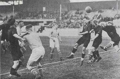 Hectic phase during the goal-rich Olympic win against Luxembourg in 1928 (5-3) BEL-LUX SO1928.JPG