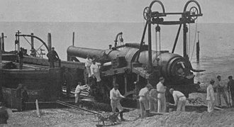 MoD Shoeburyness - Delivery by barge of an Armstrong 110-ton gun to the Old Ranges in 1888.
