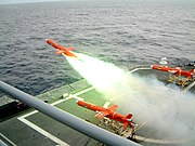 A BQM-74 Chukar unmanned aerial drone launches from a U.S. Navy vessel