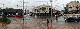 Balaclava Junction grand union and tram stop in Caulfield North, Melbourne, Victoria, Australia