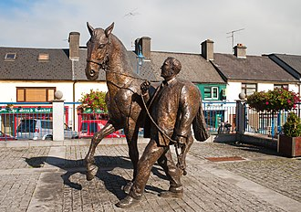 Sculpture by James McCarthy which monumentalises the Ballinasloe Horse Fair Ballinasloe Horse and Handler Sculpture by James McCarthy 2010 09 15.jpg