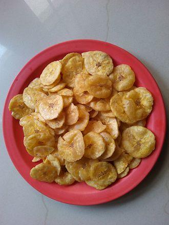 Banana chip - Fried banana chips from India