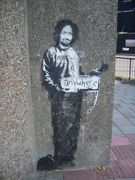 File:Banksy Hitchhiker to Anywhere Archway 2005.jpg