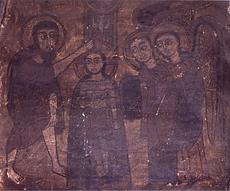 Zagwe dynasty - 12th century mural showing the baptism of Jesus Christ. Yemrahana Krestos Church, Lalibela.