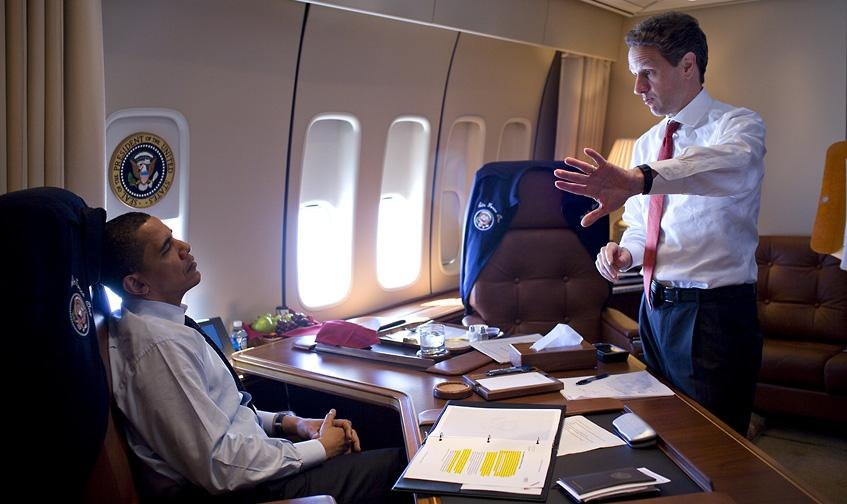 Barack Obama & Timothy Geithner on Air Force One 3-31-09