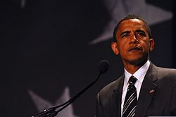 Barack Obama delivering his acceptance speech.