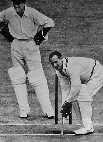 Sid Barnes - Barnes plays a practical joke by using a miniature bat in Bradman's testimonial match.