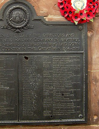 Barrow-in-Furness railway station - The World War I memorial found inside the station also shows damage from World War II bombing