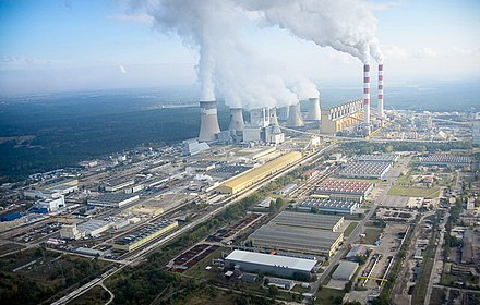 Belchatow Power Station is a lignite-fired power station that produces 27-28 TWh of electricity per year, or twenty percent of the total power generation in Poland. Belchatow Elektrownia.jpg