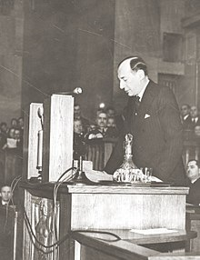 """Przemówienie Becka z 5 maja 1939 r., w którym padły słowa: """"My Polacy nie znamy pojęcia pokoju za wszelką cenę."""" (Zdjęcie z tygodnika Światowid.)"""