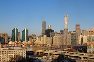 Beijing central business district - Beijing's CBD in January 2019 with the newly completed CITIC Tower (China Zun)
