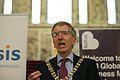 Belfast Lord Mayor Máirtín Ó Muilleoir welcoming participants of the 2013 Horasis Global India Business Meeting.jpg