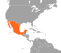 Map indicating locations of Belize and Mexico