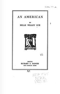 Belle Willey Gue American writer