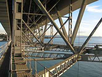 Auckland Harbour Bridge - Support structure under the bridge